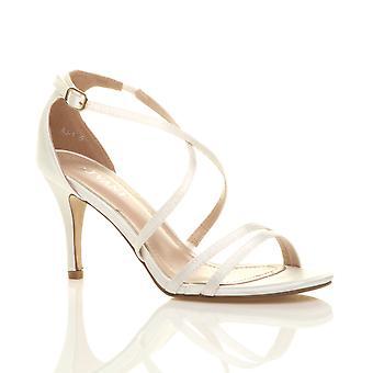 Ajvani womens mitten av låg högklackade strappy crossover part bröllop bal sandaler skor