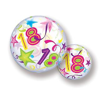 Ballon Bubble Kugel 18  Volljährig Geburtstag Sterne Konfetti bunt circa 55cm Ballon