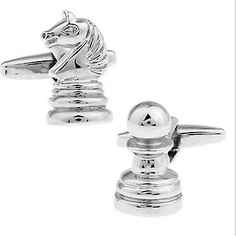 Sports Chess Novelty Cufflinks Knight & Pawn Game Strategy Gift
