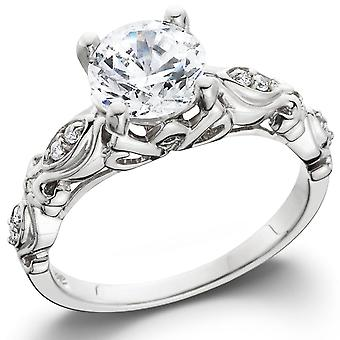 1 1/16ct Vintage Enhanced Diamond Engagement Ring 14K White Gold