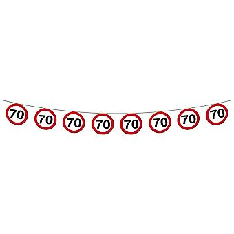 Pennant Garland traffic sign number 70 birthday decoration party