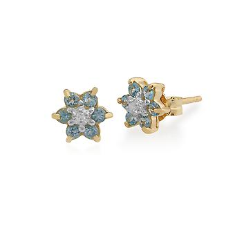 9ct Yellow Gold 0.34ct Blue Topaz & Diamond Cluster Stud Earrings