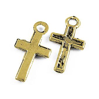 Packet 30 x Antique Gold Tibetan 16mm Christian Cross Charm/Pendant ZX03190