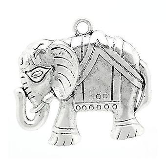 1 x Antique Silver Tibetan 54mm Elephant Charm/Pendant ZX10620