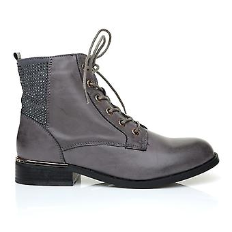 STREET Charcoal Grey PU Leather Lace Up Round Toe Ankle Boots