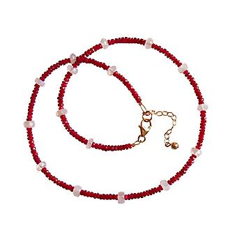 Gemstone necklace red white Ruby Gems and Moonstone gold plated necklace