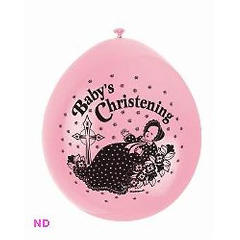 "'BABY CHRISTENING' 9"" Latex Balloons Pink (10)"
