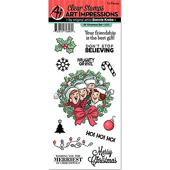 Art Impressions Girlfriends Clear Stamp Set-Christmas