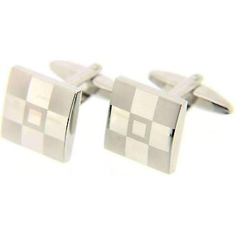 David Van Hagen Frosted Square Cufflinks - Silver