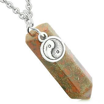 Yin Yang Balance Powers Magic Amulet Crystal Point Pendant Dragon Blood Jasper 18 Inch Necklace
