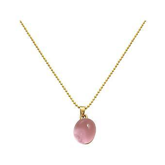 Gemshine - damer - halsband hänge - 925 Silver guldpläterade - rosenkvarts - rosa - 42 cm