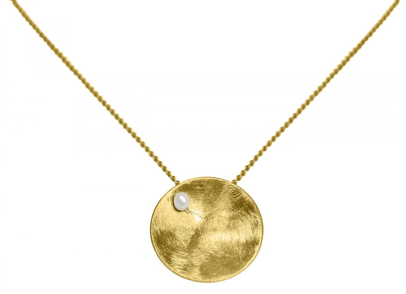 Gemshine - femmes - Halskette - Anhänger - 925 argent - Veroret - Schale -  Geometrisch - Design - Perle - blanc - 45 cm