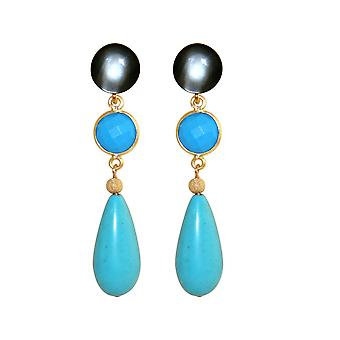 GEMSHINE earring with turquoise gems. Earrings made of 925 Silver or high-quality gold-plated. Made in Munich, Germany. Delivered in the elegant jewelry. Also as a SET with the necklace.