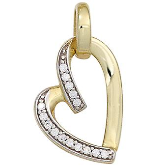 Heart pendants gold pendant heart 333 part rhodium gold yellow gold with cubic zirconia
