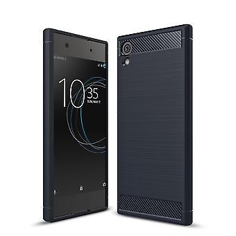 Sony Xperia XA1 TPU case carbon fiberoptik borstad skyddande fall blå
