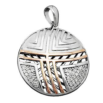 Bicolor pendant silver red gold plated cubic zirconia rhodium-plated matt polished 925 Silver
