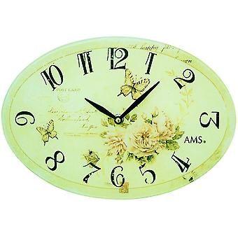 AMS 9478 wall clock quartz analog oval vintage antique retro roses and butterflies