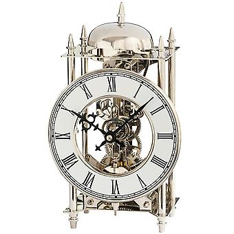 AMS 1184 table clock style clock brass nickel-plated mechanically 14-day chiming clock