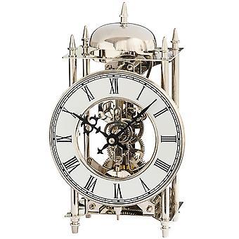 1184 AMS horloge style horloge laiton nickelé mécaniquement 14 jours sonnerie horloge de table