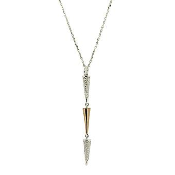 Orphelia 925 Silver Pendant with Chain 42 CM with Rose and Zirconium Triangles