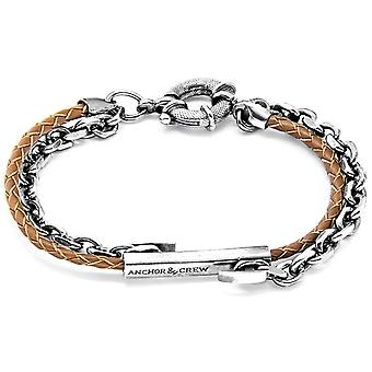 Anchor and Crew Belfast Silver and Leather Bracelet - Light Brown