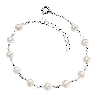 Delar Silver Pearl Armband - Silver/vit