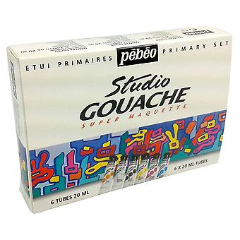 Pebeo Studio Gouache Primary Set 6 x 20ml Tubes