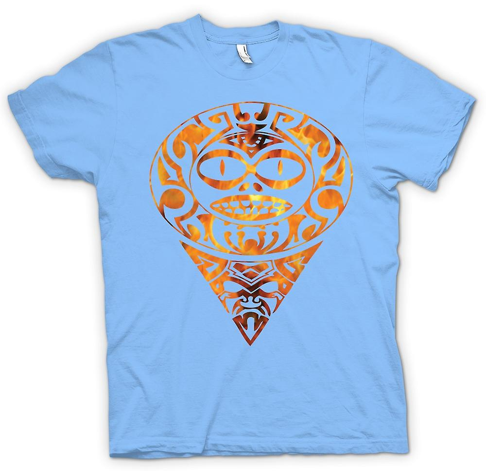 Mens T-shirt - Aztec Tattoo Flames - Tribal