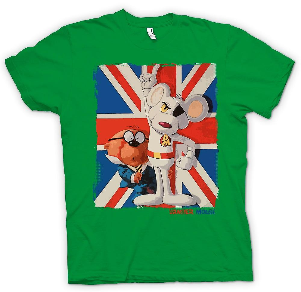 Mens t-shirt-Danger Mouse e Penfold - Union Jack - Retro