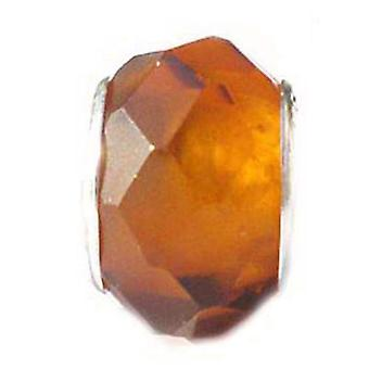 TOC BEADZ Orange Faceted 8mm Glass Slide-On Off Bead