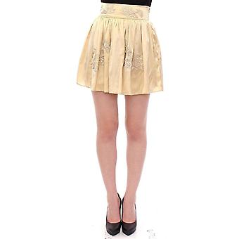 Andrea Incontri Beige Floral Embroidery Mini Skirt -- GSS1792645