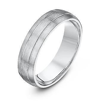 Star anneaux de mariage Palladium 950 clair Matt cour avec deux rainures poli 5mm bague de mariage