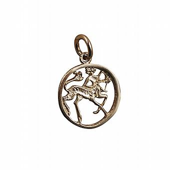 9ct Gold 11mm pierced Sagittarius Zodiac Pendant