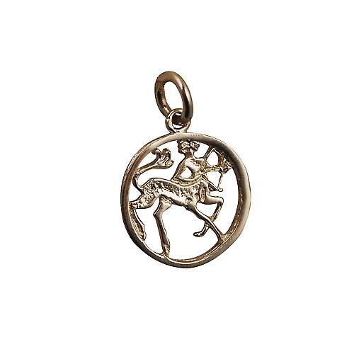 9ct Gold 11mm pierced Zodiac pendant Sagittarius