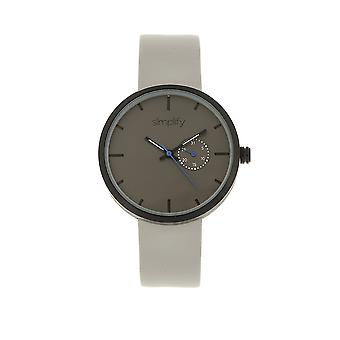 Simplify The 3900 Leather-Band Watch w/ Date - Grey