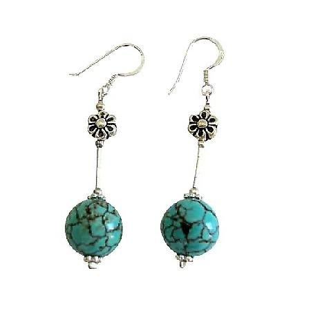 Turquoise Earrings 12mm Turquiose Round Bead w/ Sterling Silver Tube