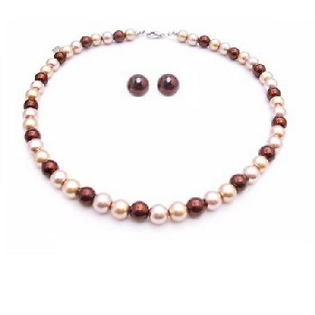 Multicolor Pearls Stud Earrings Necklace Set Prom Gift Jewelry Set