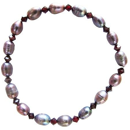 Metallic Freshwater Pearls w/ Siam Red Crystals Stretchable Bracelet