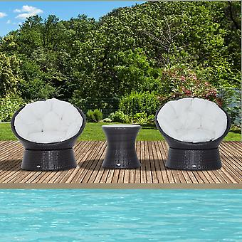 Outsunny Rattan Garden Furniture Set 3 PCs Bistro Swivel Egg Chairs mixed brown