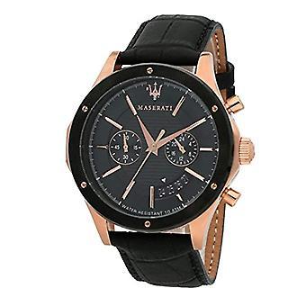 MASERATI klocka chronograph quartz herrklocka med läder R8871627001