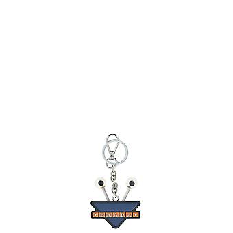 Prada Blue Leather Key Chain
