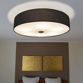 QAZQA Ceiling Lamp Drum 70 Round Black