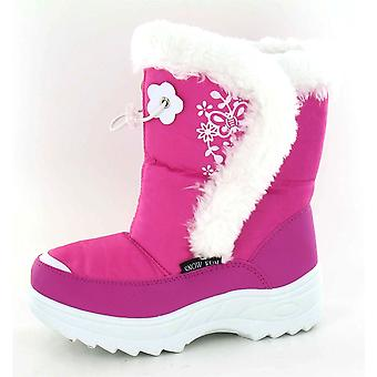 Spot On Butterfly And Flower Design Fur Trim Snow Boot