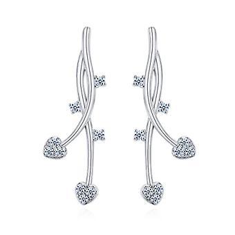 925 Sterling Silver Aaaaa Cz Vine Floral Drop Earrings