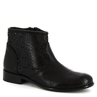 Leonardo skor kvinnors handgjorda ankel halvkängor i svarta genombrutna kalvskinn