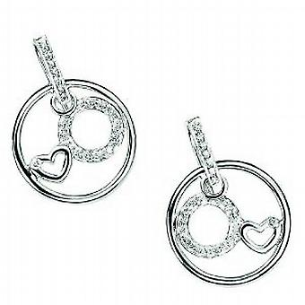 Elements Sterling Silver Cz Pave Disc and Heart Drop Earrings