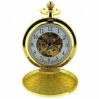 Boxx Mens dorado esqueleto Mechanical Pocket Watch 12 pulgadas cadena Boxx243