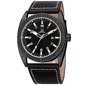 Joshua & Sons Men's JX120LM Quartz Movement Date Genuine Leather Strap Watch