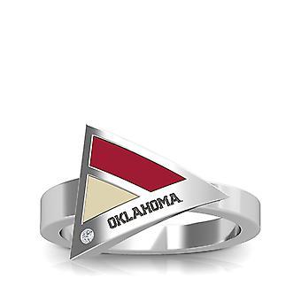 La Universidad de Oklahoma - Oklahoma grabado diamante geométrico anillo en rojo oscuro y bronceado