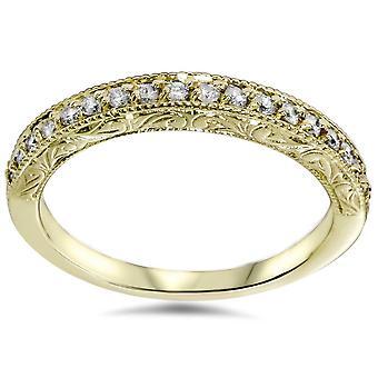 1/2ct Yellow Gold Diamond Vintage Wedding Ring 14K